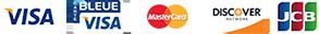 Visa, Visa Bleue, Mastercard, Discover, JCB